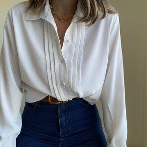 Vintage Tops - Vintage Panel Front Blouse Button Up